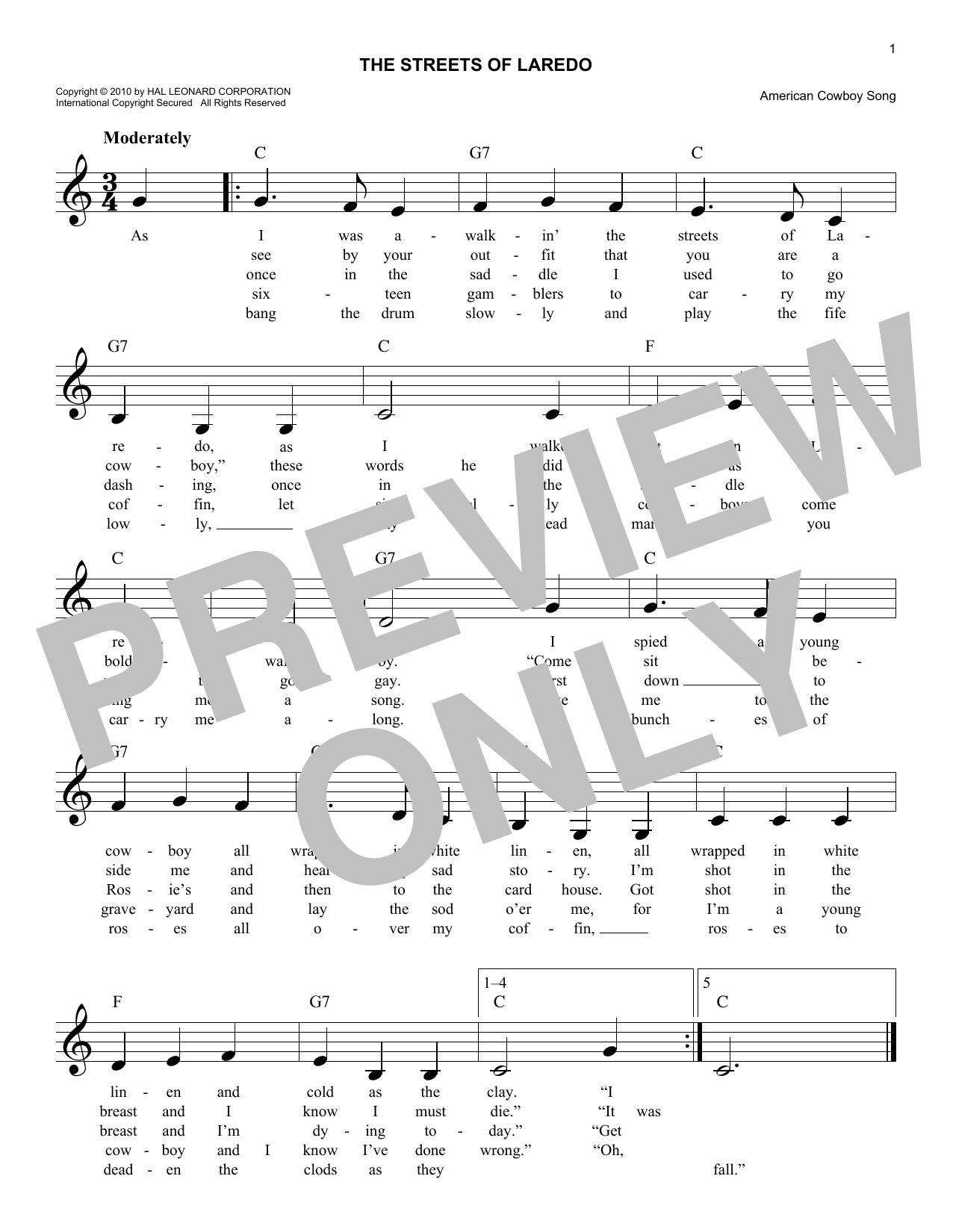 The Streets Of Laredo Sheet Music