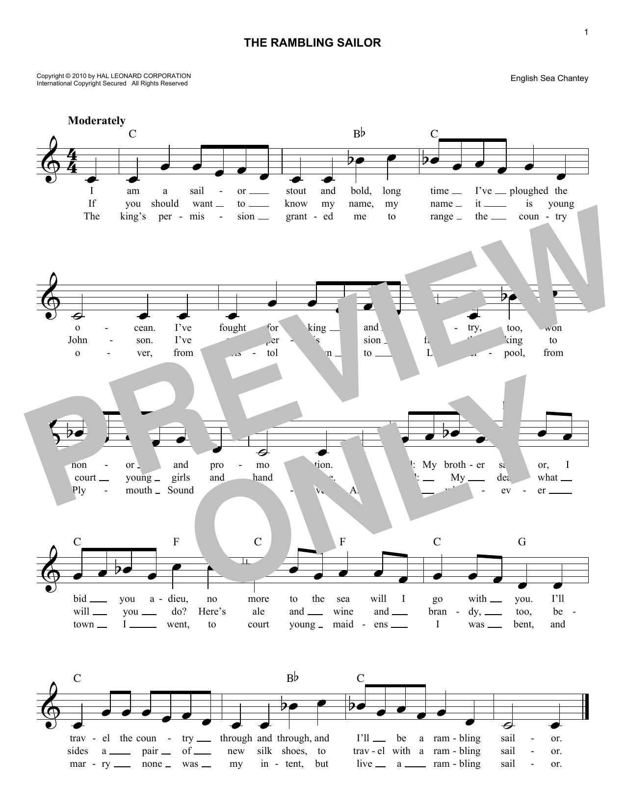 The Rambling Sailor Sheet Music