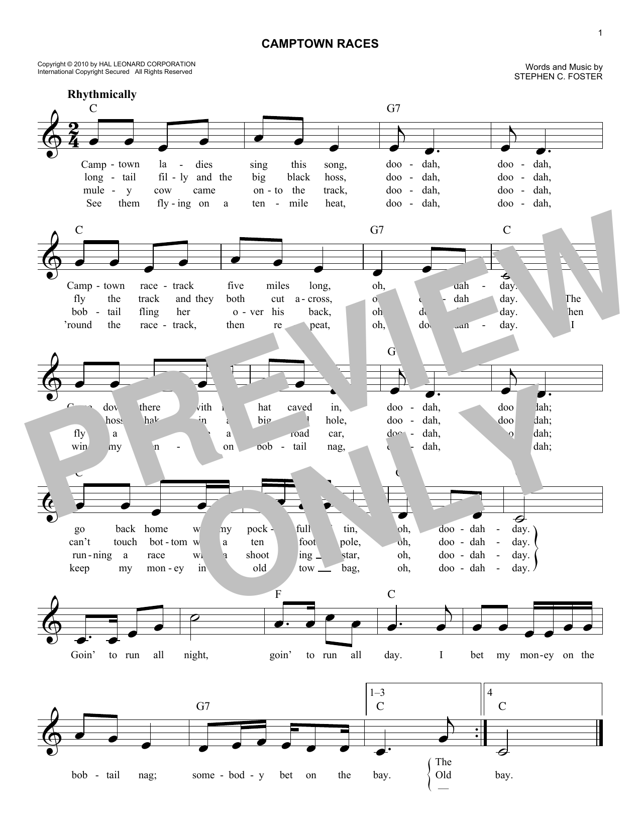 Camptown Races Sheet Music