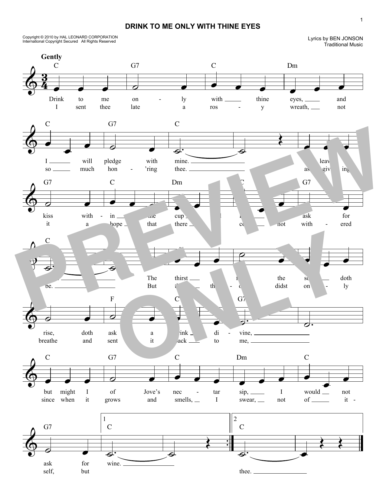 Drink To Me Only With Thine Eyes (Lead Sheet / Fake Book)