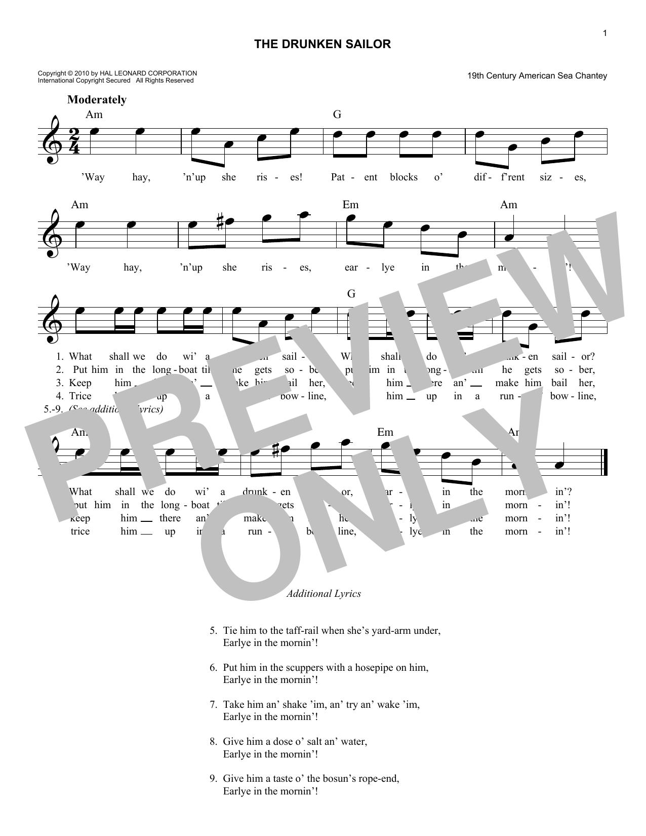 The Drunken Sailor Sheet Music