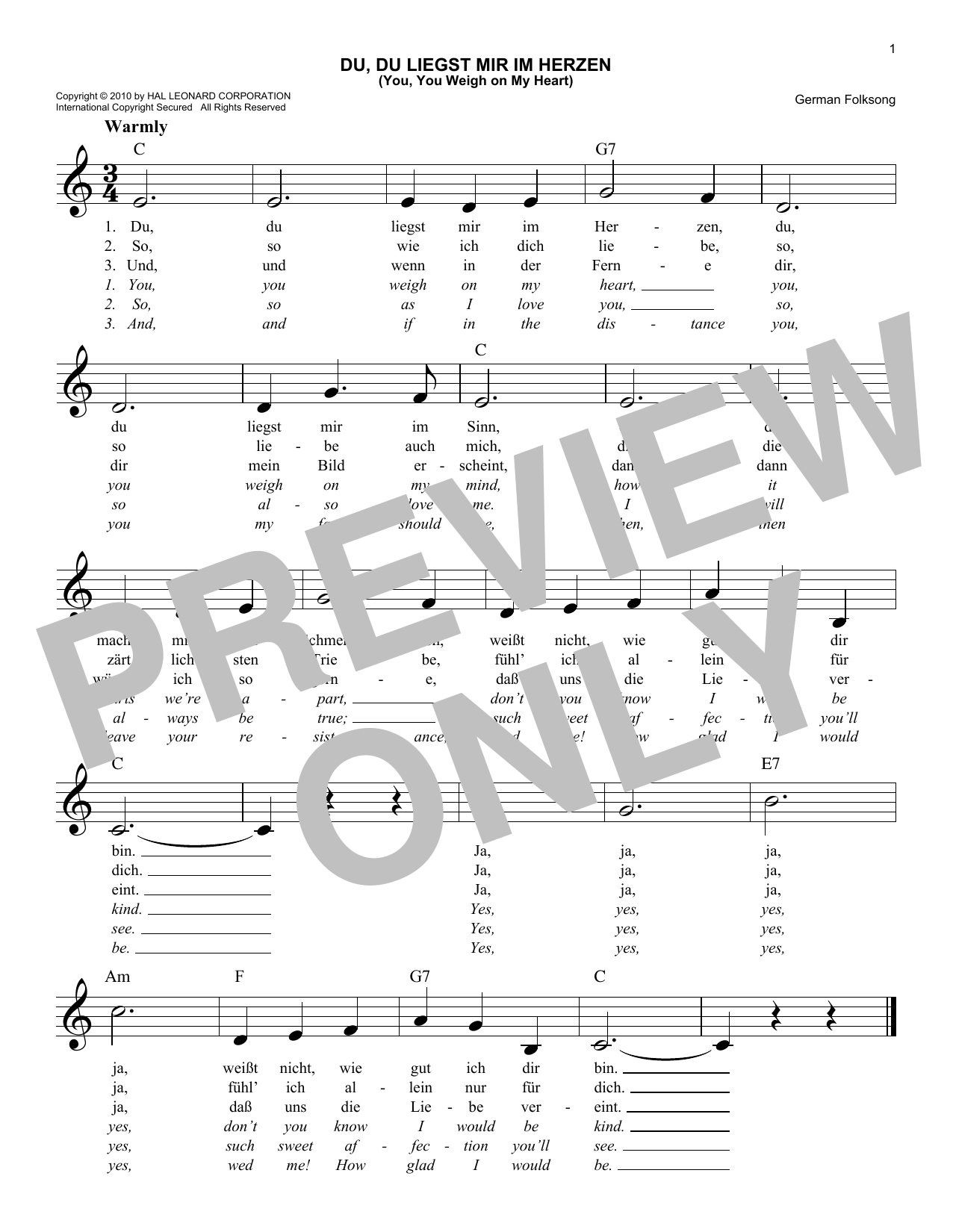 Du, Du Liegst Mir Im Herzen (You, You Weigh On My Heart) (Lead Sheet / Fake Book)