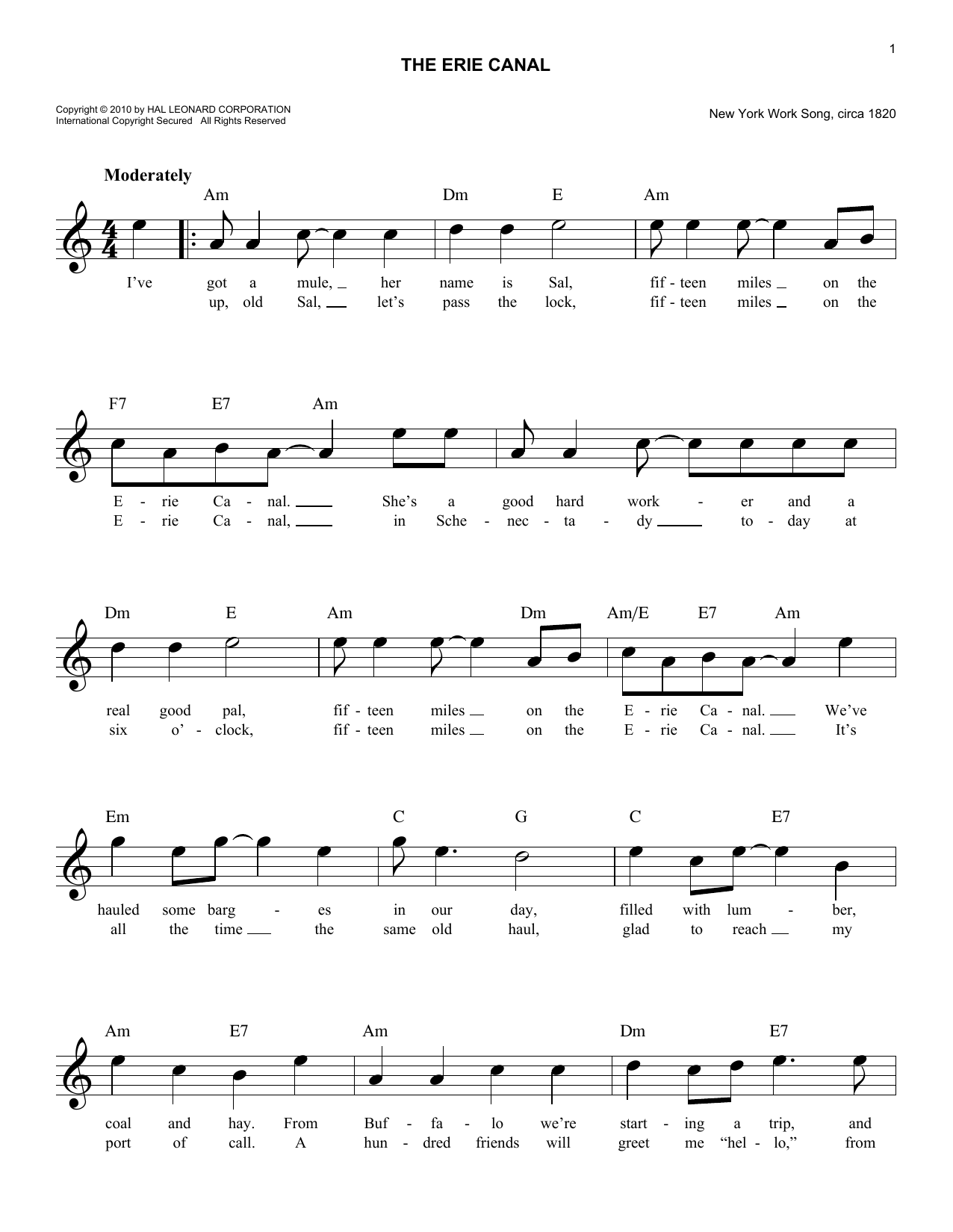 The Erie Canal Sheet Music