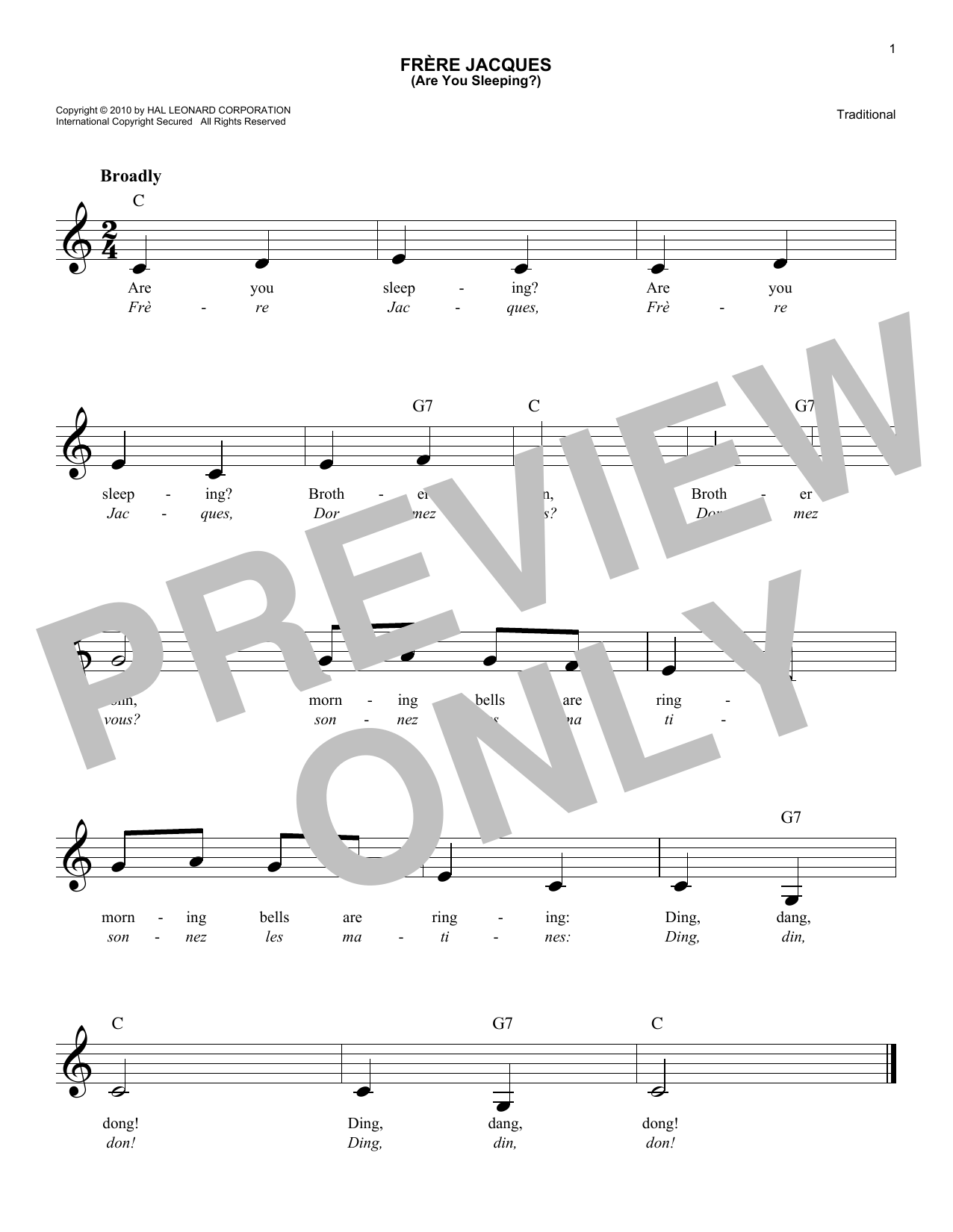 Frere Jacques (Are You Sleeping?) (Lead Sheet / Fake Book)