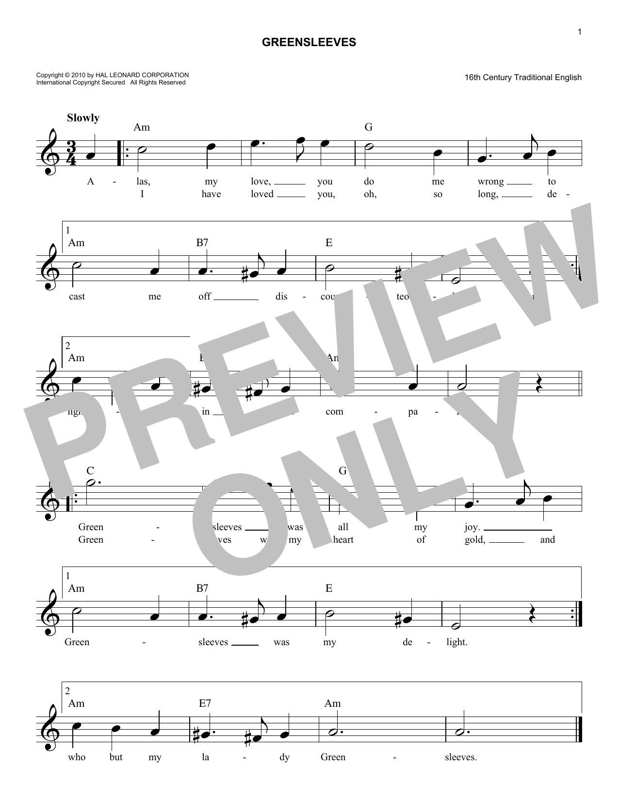 Greensleeves (Lead Sheet / Fake Book)