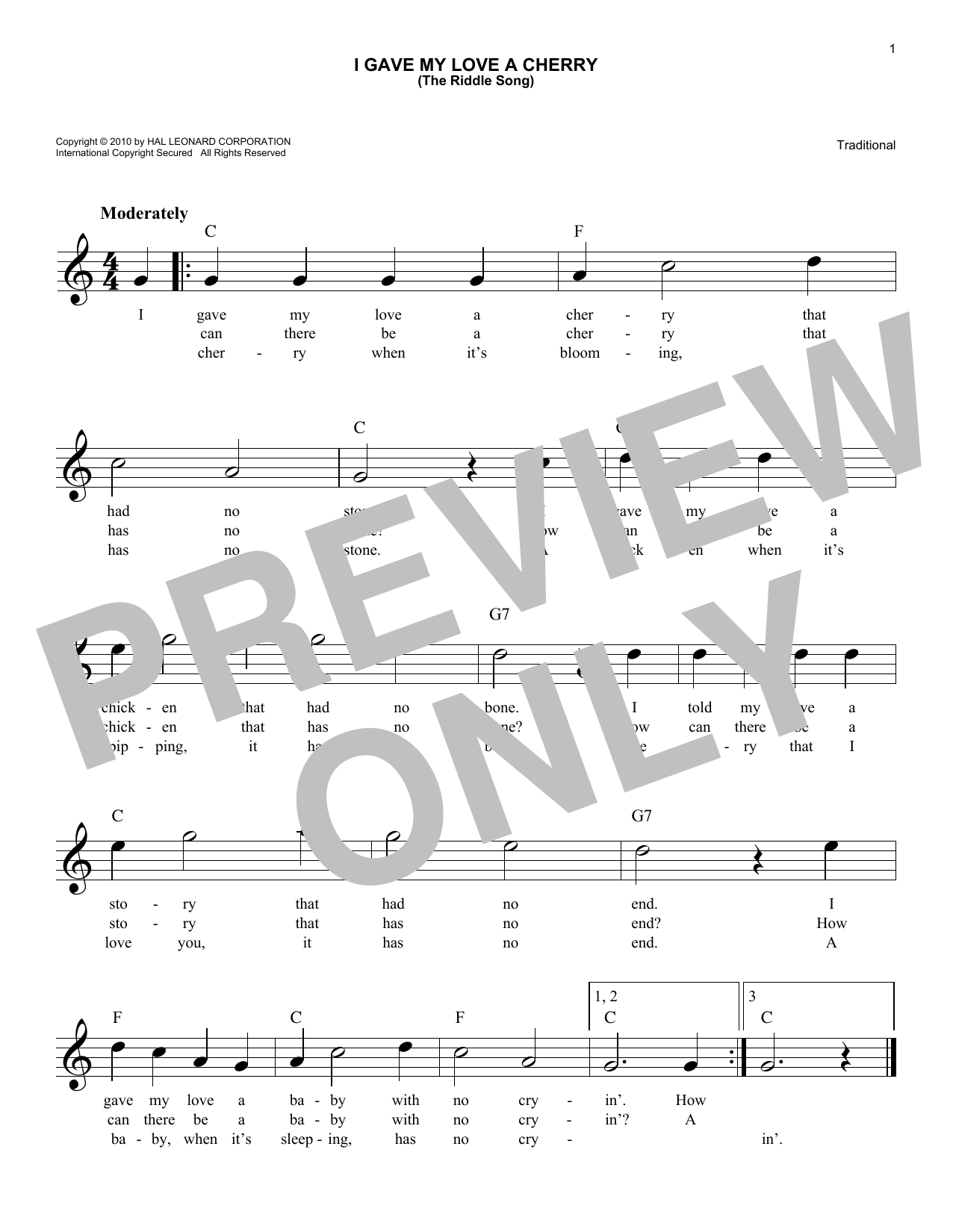 I Gave My Love A Cherry (The Riddle Song) (Lead Sheet / Fake Book)