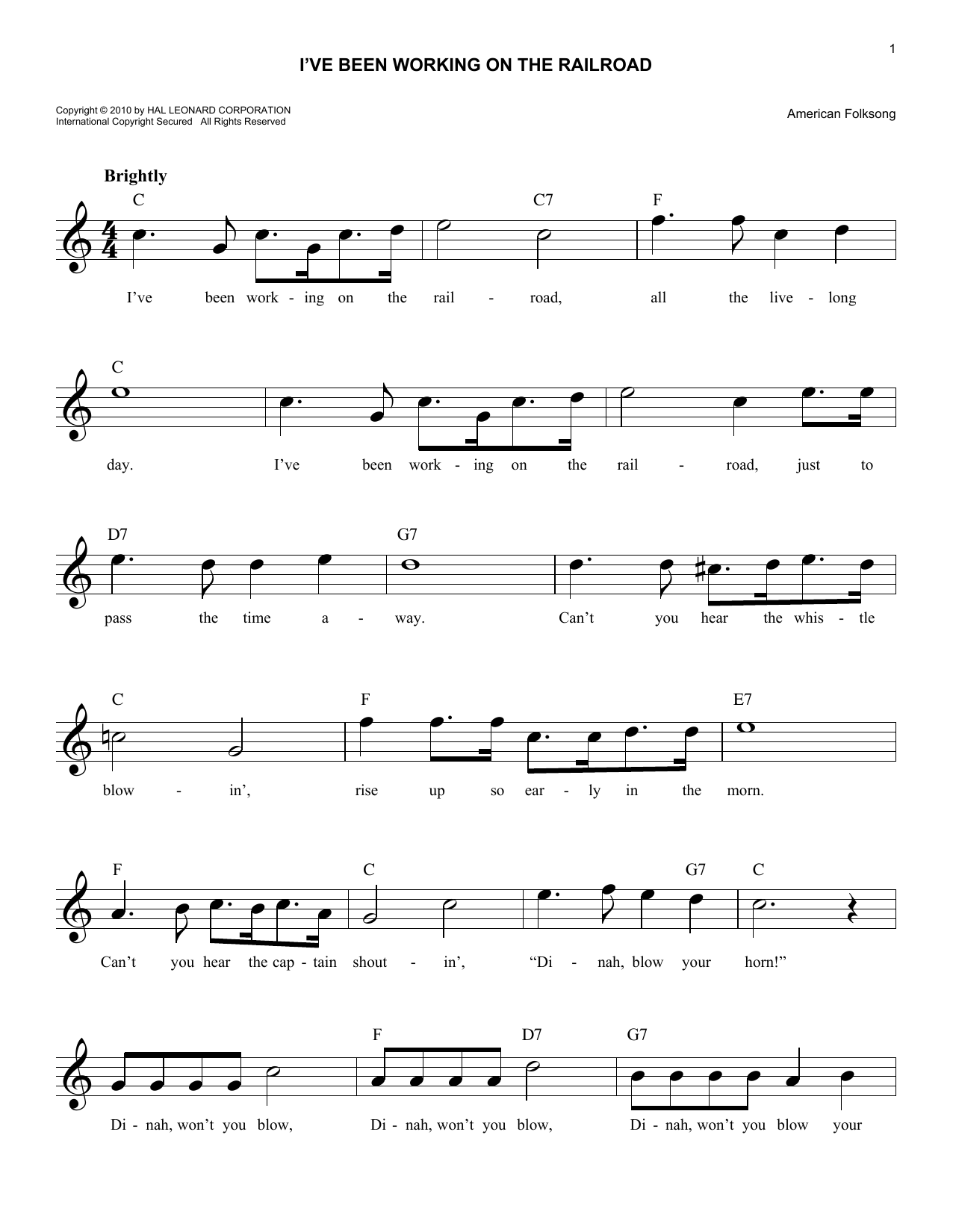 I've Been Working On The Railroad (Lead Sheet / Fake Book)