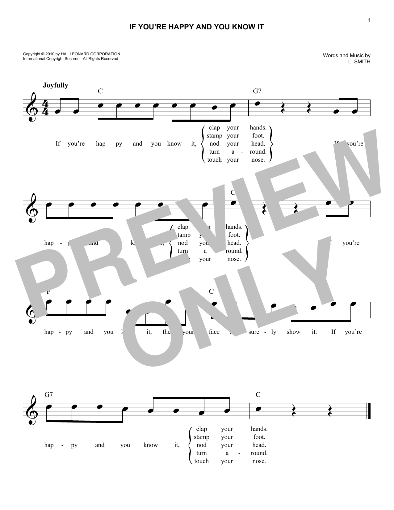 If You're Happy And You Know It (Lead Sheet / Fake Book)