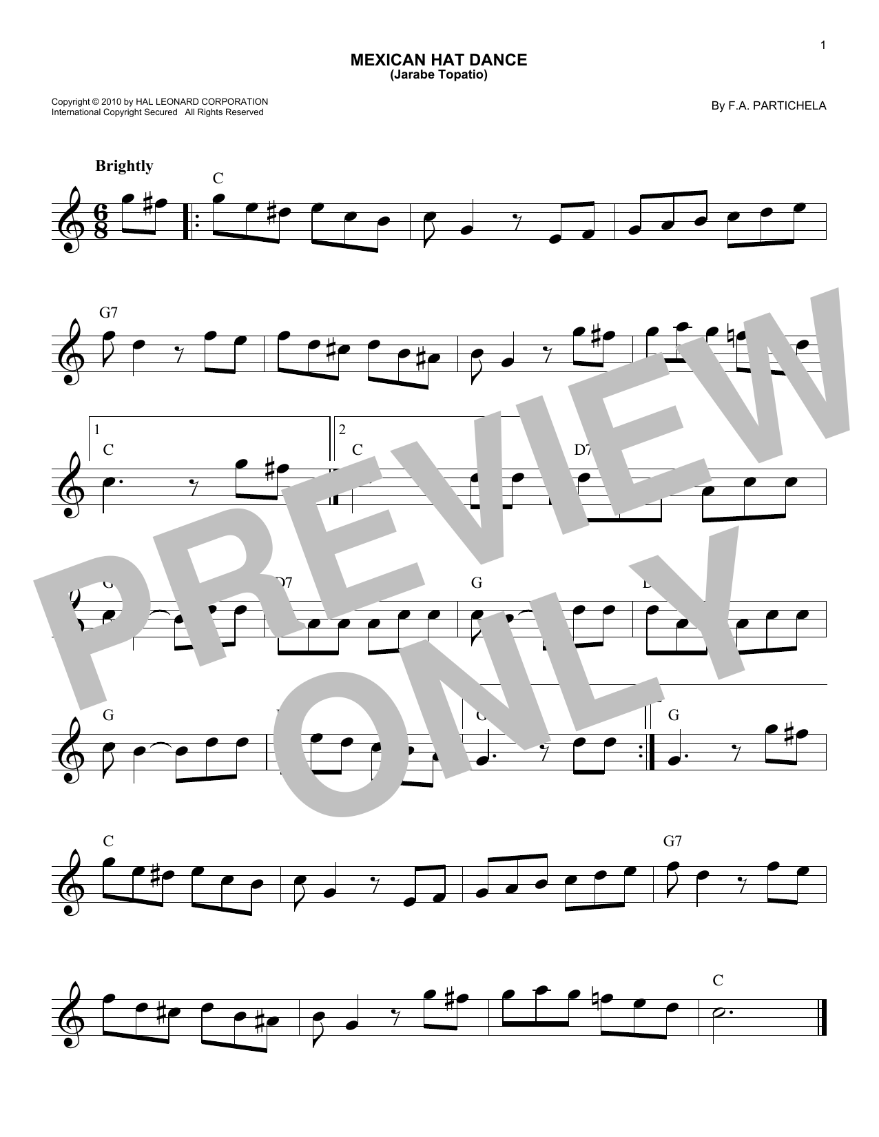 Mexican Hat Dance (Jarabe Topatio) (Lead Sheet / Fake Book)