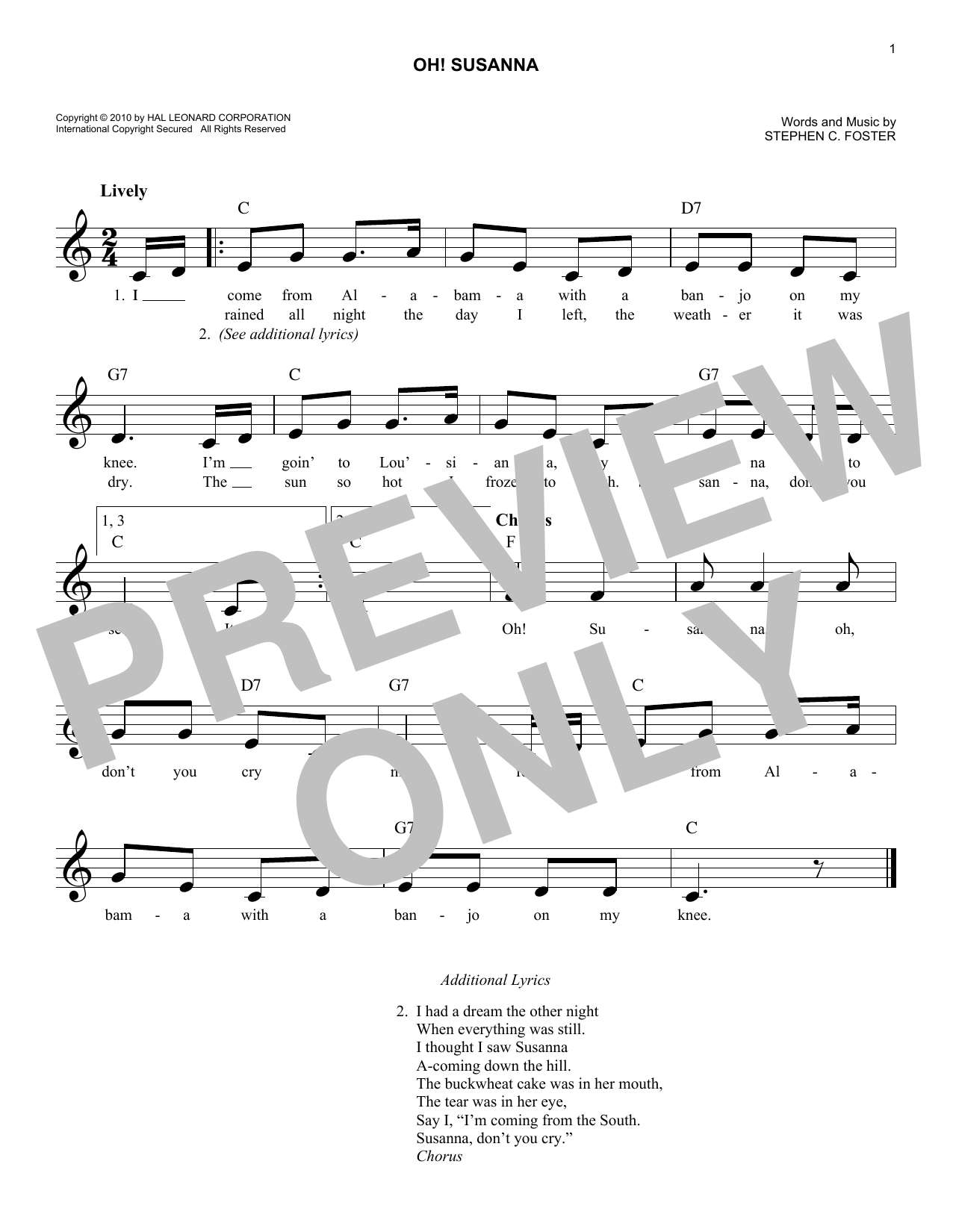Oh Susanna Chords By Stephen C Foster Melody Line Lyrics