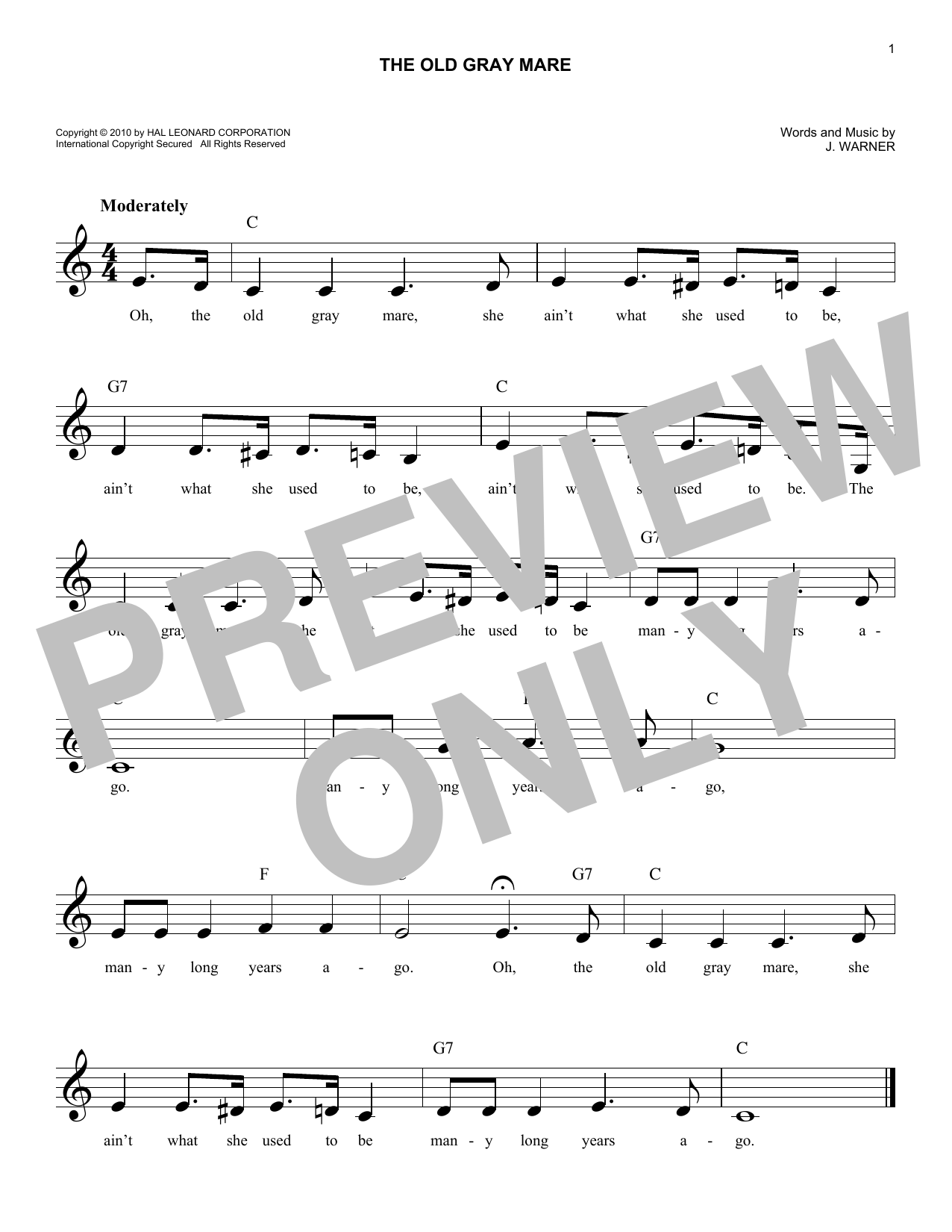 The Old Gray Mare (Lead Sheet / Fake Book)