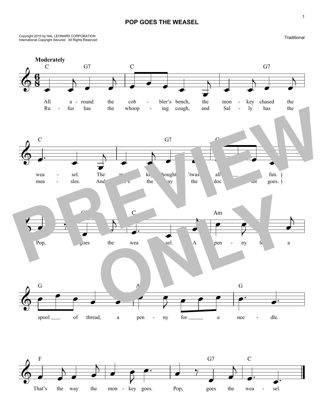 Pop Goes The Weasel (Lead Sheet / Fake Book)