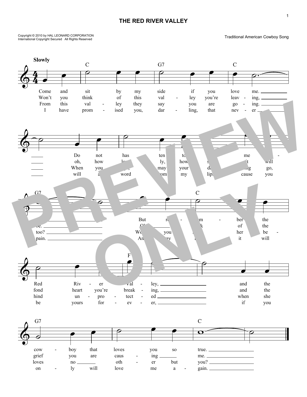 The Red River Valley (Lead Sheet / Fake Book)