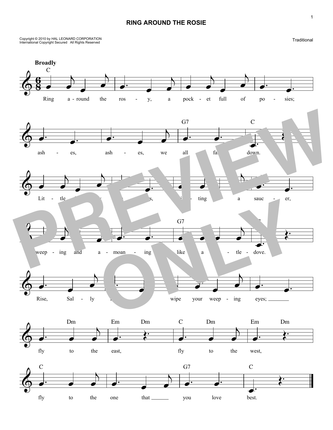 Ring Around The Rosie (Lead Sheet / Fake Book)