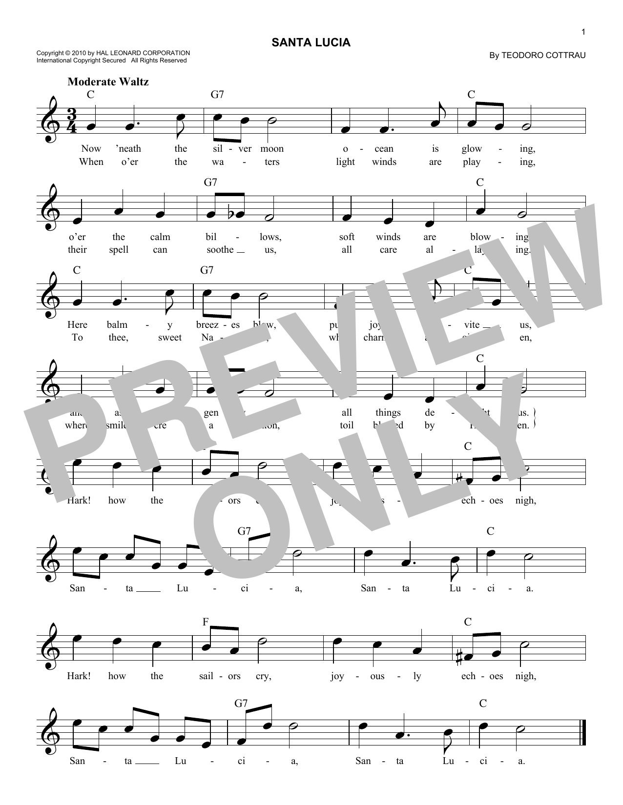 Santa lucia chords by teodoro cottrau melody line lyrics santa lucia sheet music hexwebz Choice Image