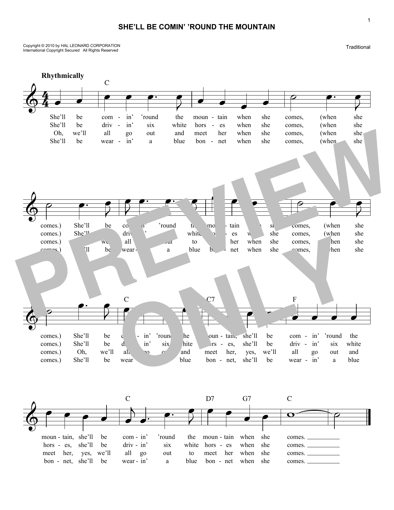 She'll Be Comin' 'Round The Mountain (Lead Sheet / Fake Book)