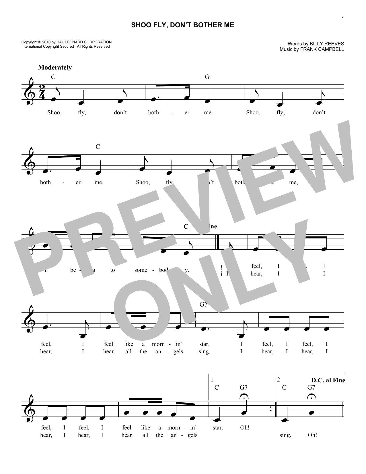 Shoo Fly, Don't Bother Me Sheet Music