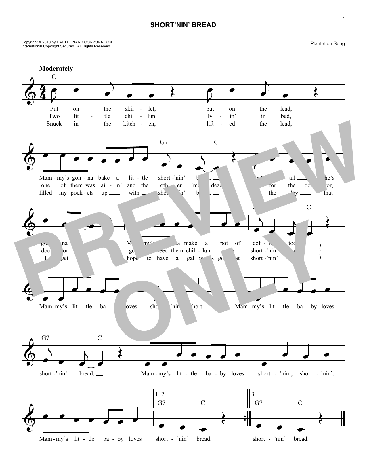 Short'nin' Bread Sheet Music