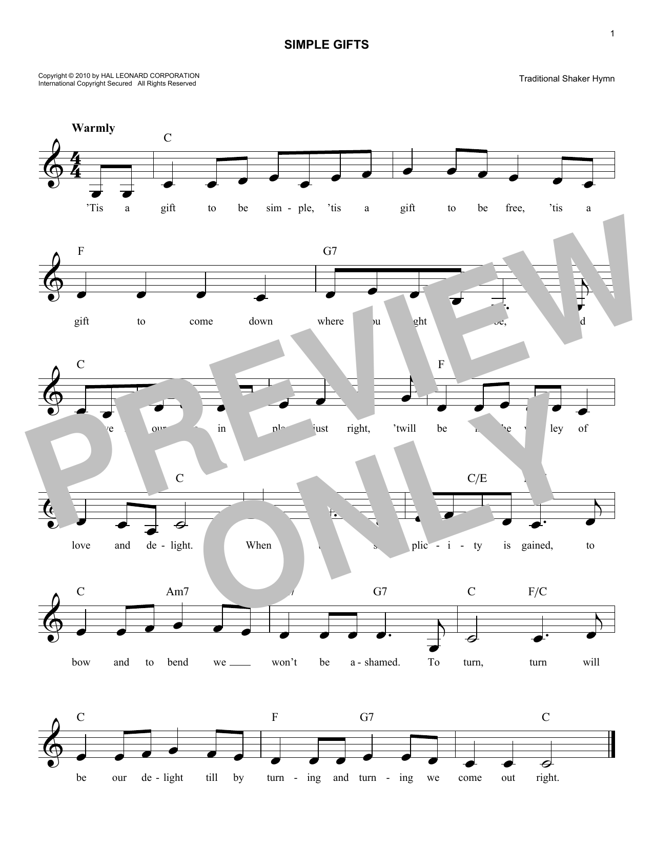 Simple gifts chords by traditional shaker hymn melody line simple gifts sheet music hexwebz Image collections