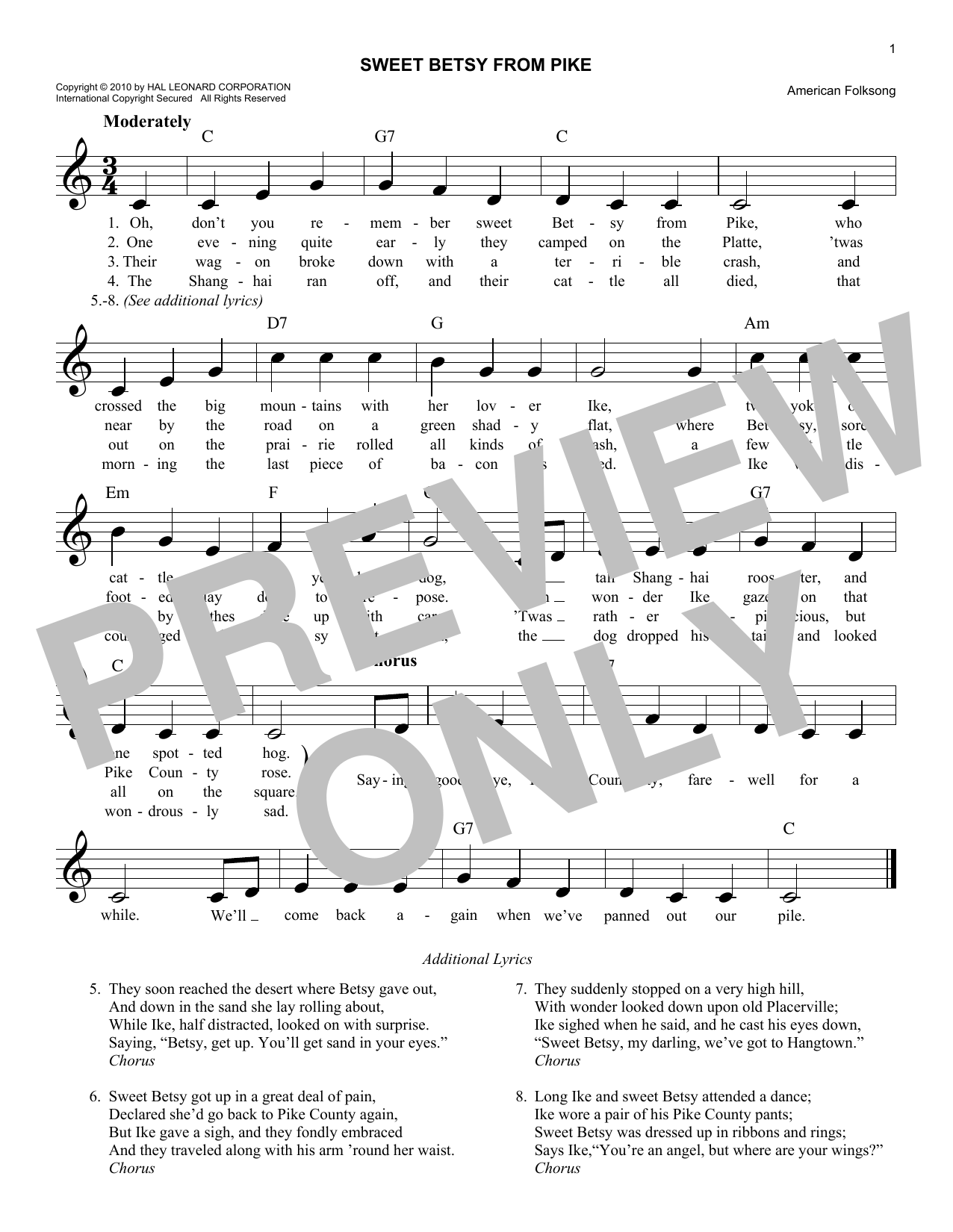 Sweet Betsy From Pike (Lead Sheet / Fake Book)