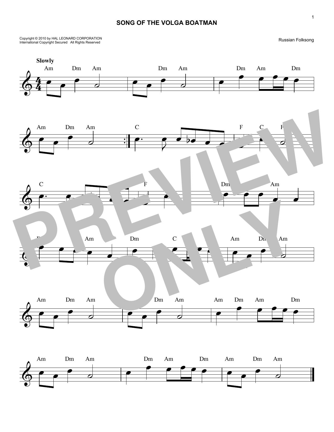 Song Of The Volga Boatman (Lead Sheet / Fake Book)