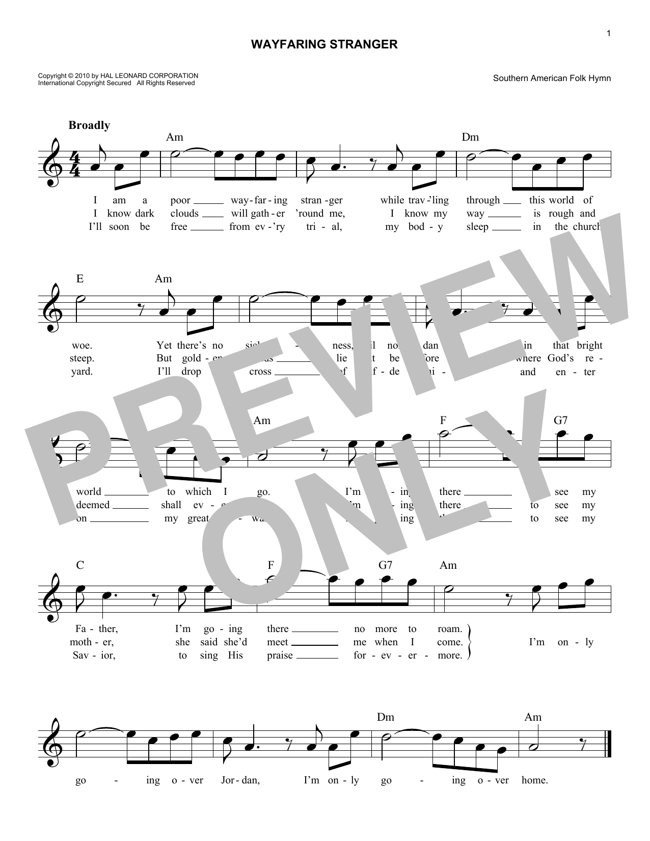 Wayfaring stranger chords by southern american folk hymn melody southern american folk hymn wayfaring stranger melody line lyrics chords hexwebz Choice Image