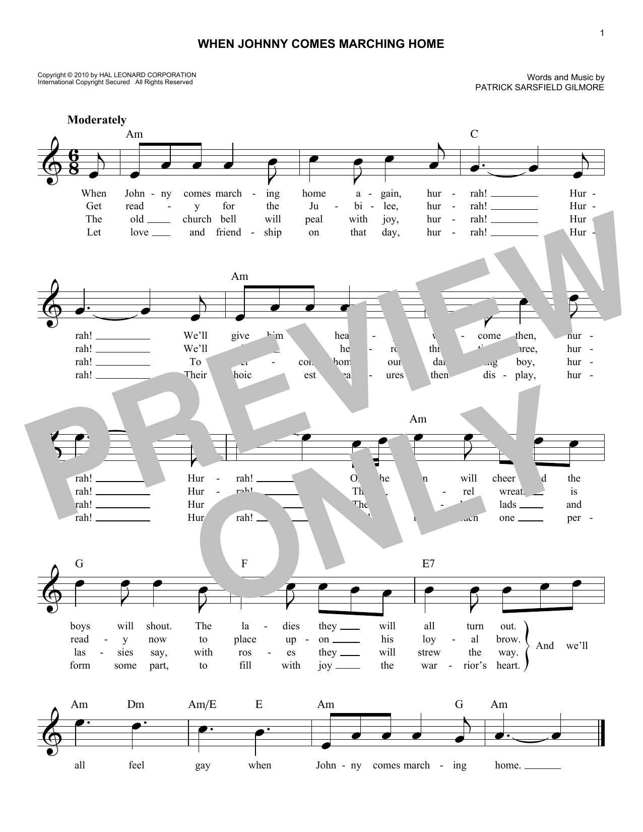 When Johnny Comes Marching Home (Lead Sheet / Fake Book)