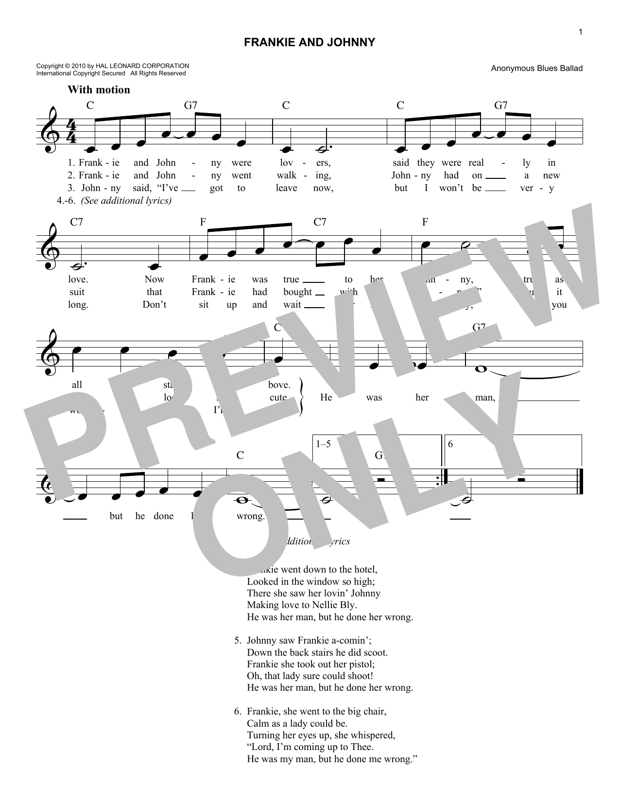 Frankie And Johnny (Lead Sheet / Fake Book)
