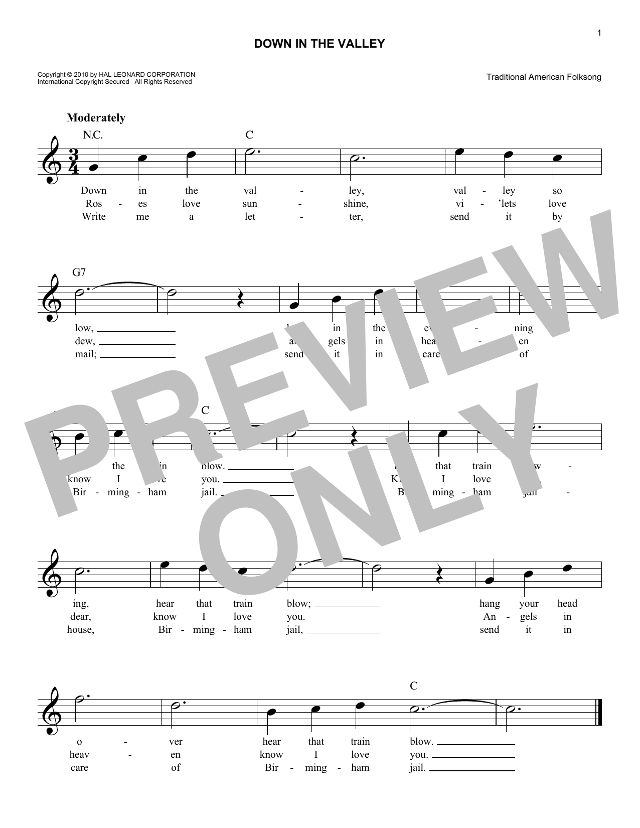 Down In The Valley (Lead Sheet / Fake Book)