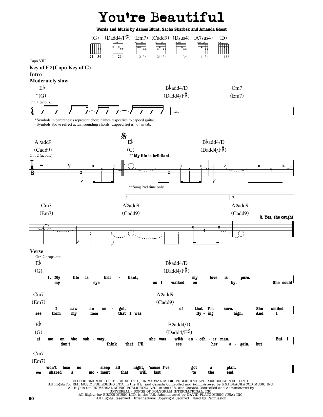 You Re Beautiful By James Blunt Guitar Lead Sheet Guitar Instructor