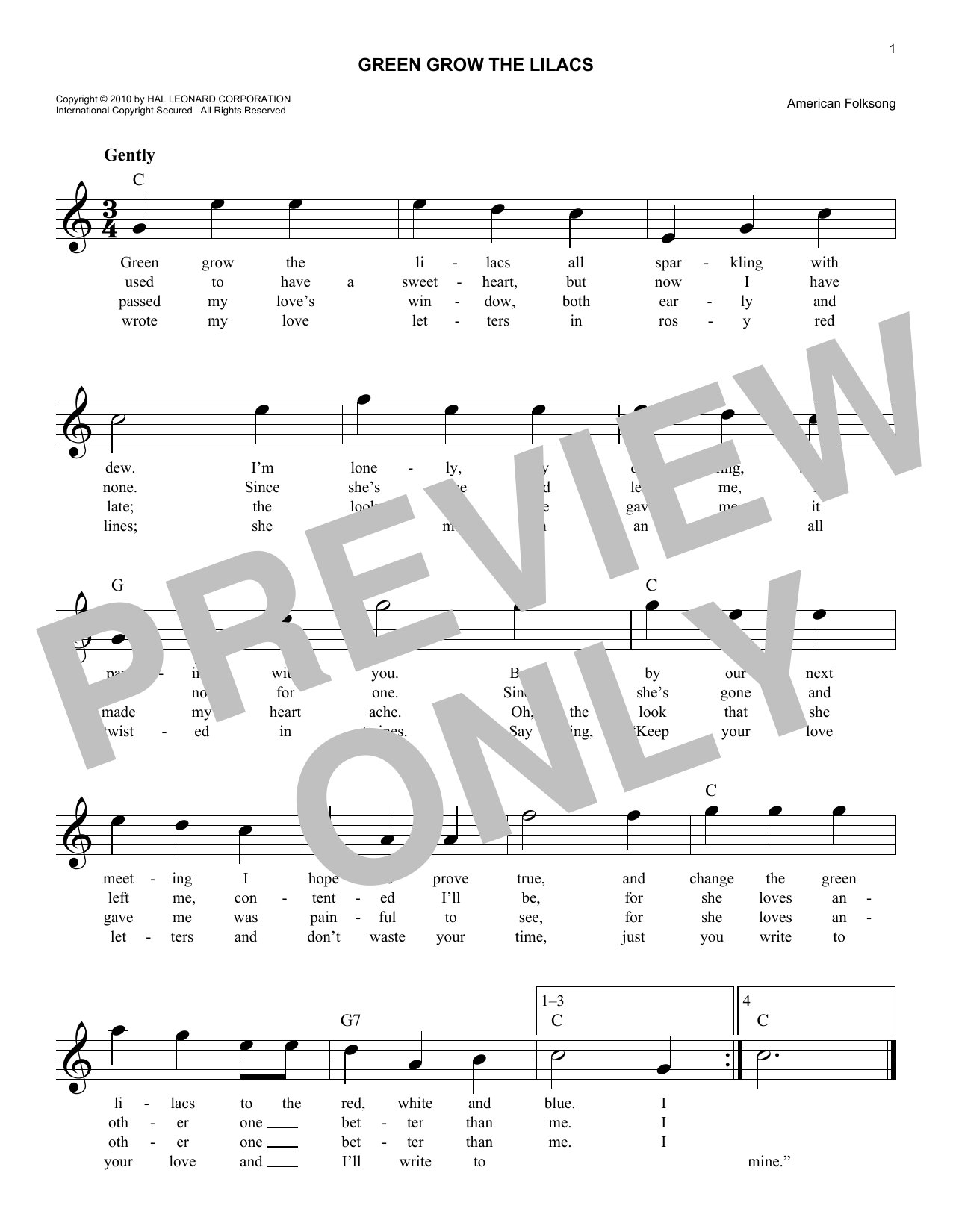 Green Grow The Lilacs (Lead Sheet / Fake Book)