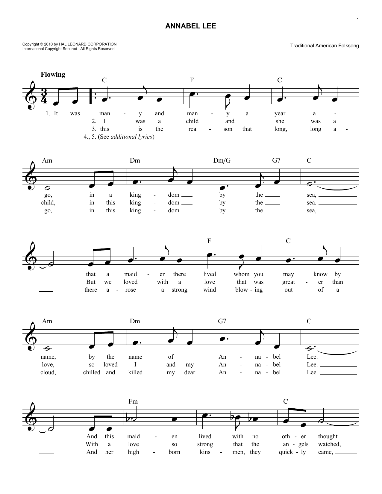 Annabel Lee Sheet Music