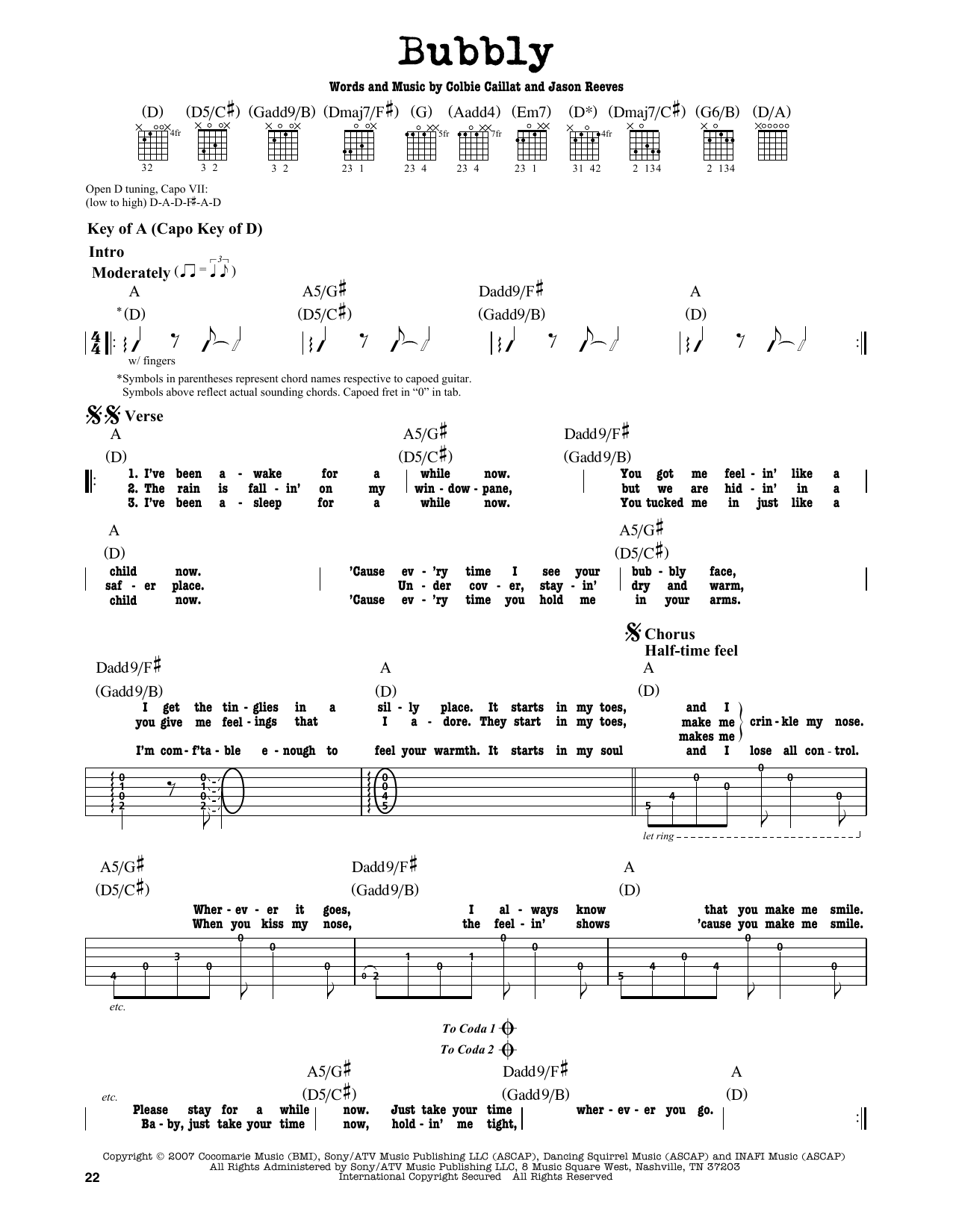 Partition autre Bubbly de Colbie Caillat - Tablature Guitare Lead