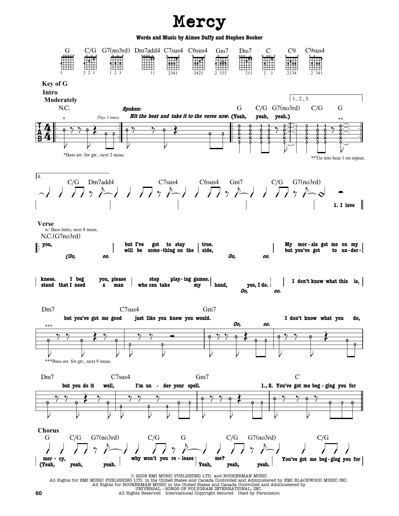 Mercy Sheet Music By Duffy Guitar Lead Sheet 164246