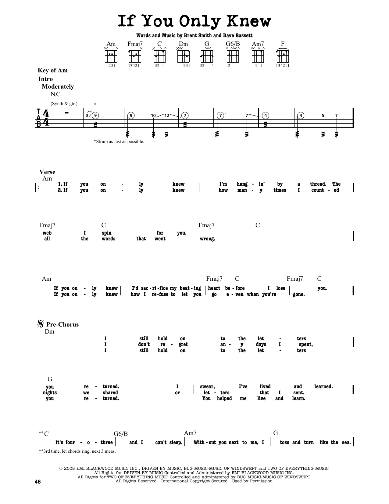 Partition autre If You Only Knew de Shinedown - Tablature Guitare Lead