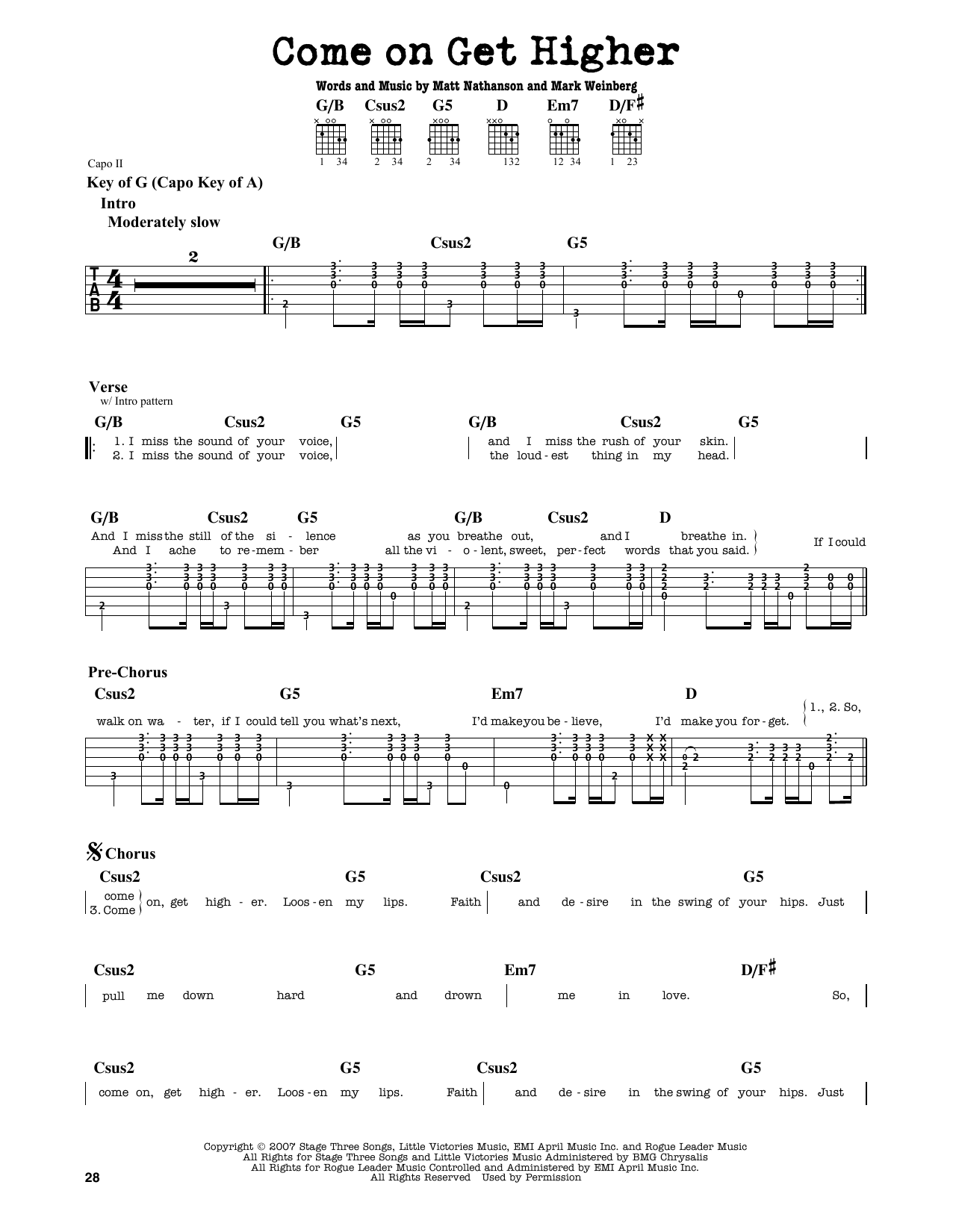 Partition autre Come On Get Higher de Matt Nathanson - Tablature Guitare Lead