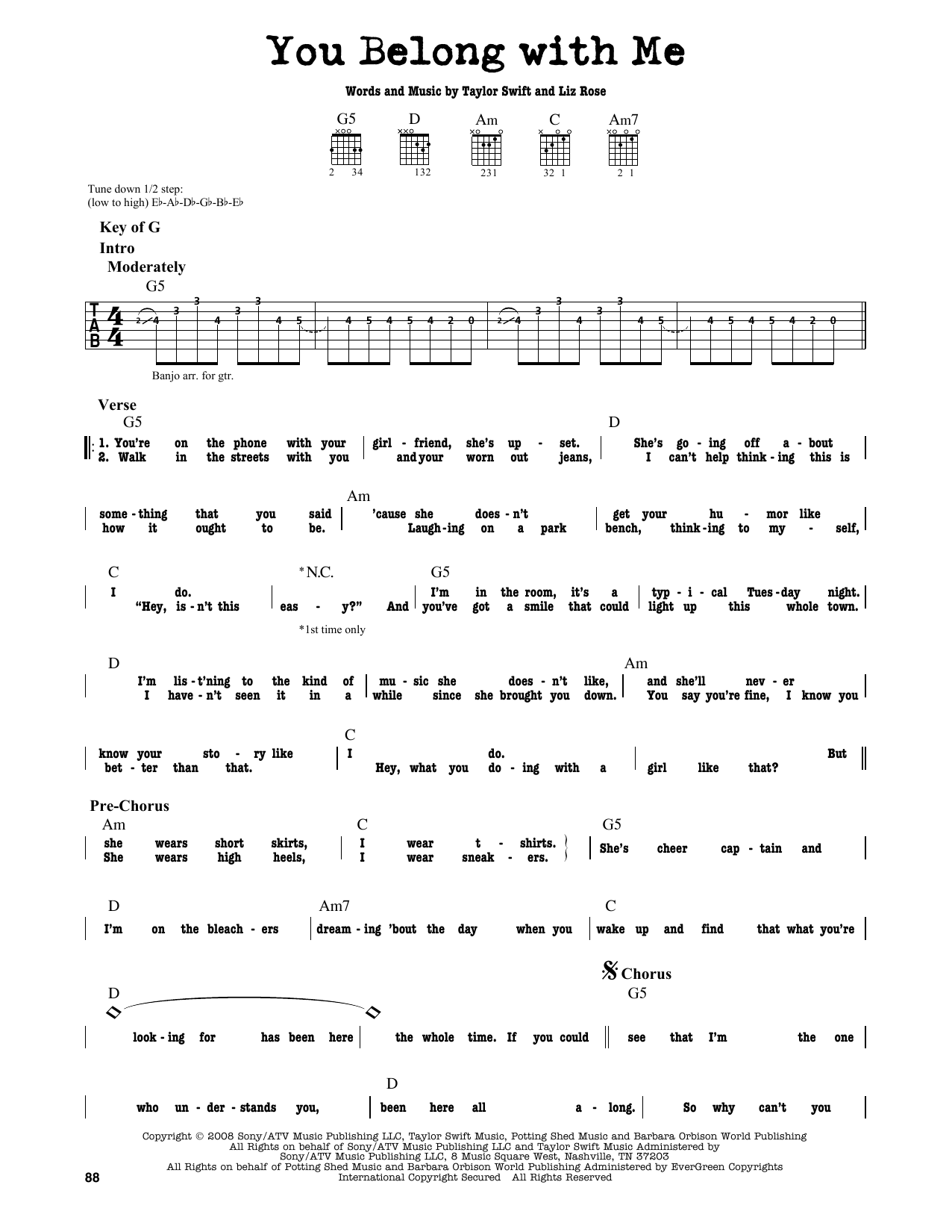 You Belong With Me Sheet Music Taylor Swift Guitar Lead Sheet