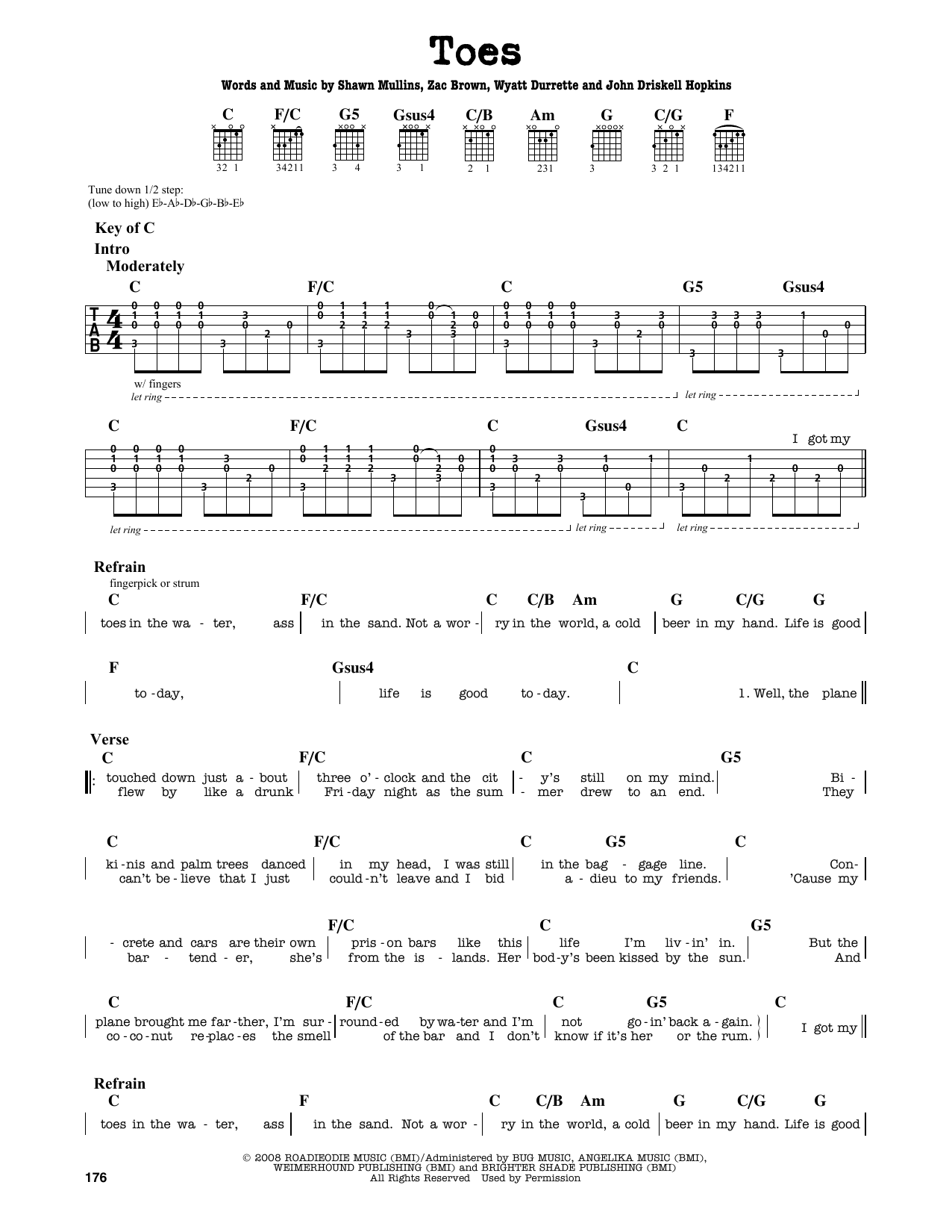 Partition autre Toes de Zac Brown Band - Tablature Guitare Lead
