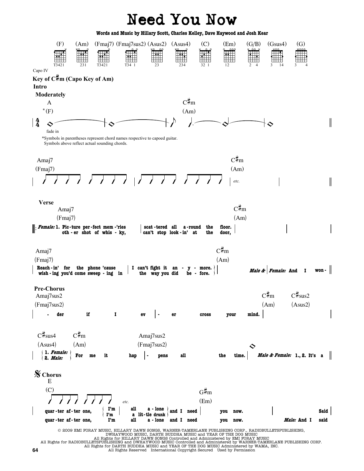 Partition autre Need You Now de Lady Antebellum - Tablature Guitare Lead