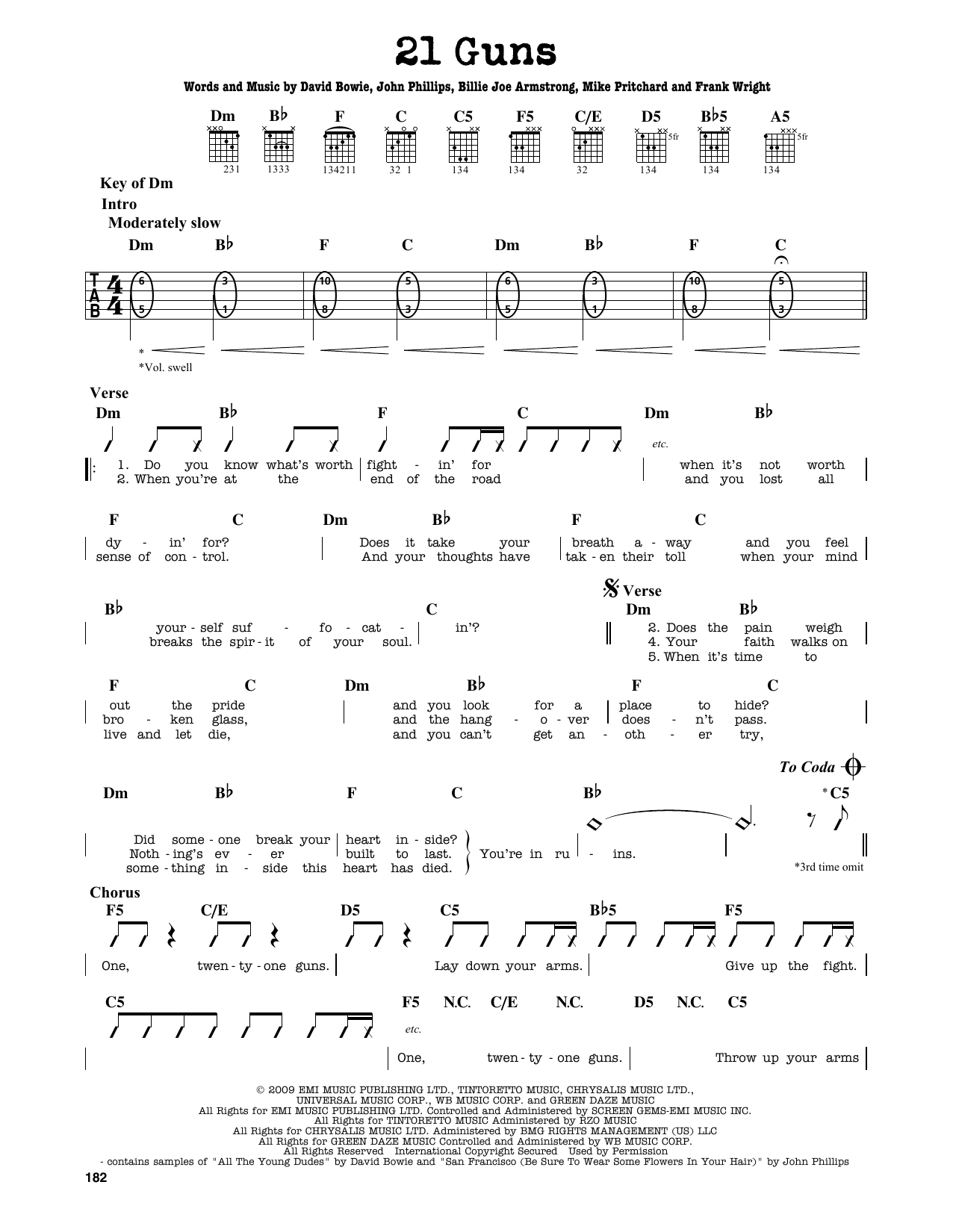 21 Guns sheet music by Green Day (Guitar Lead Sheet u2013 163745)