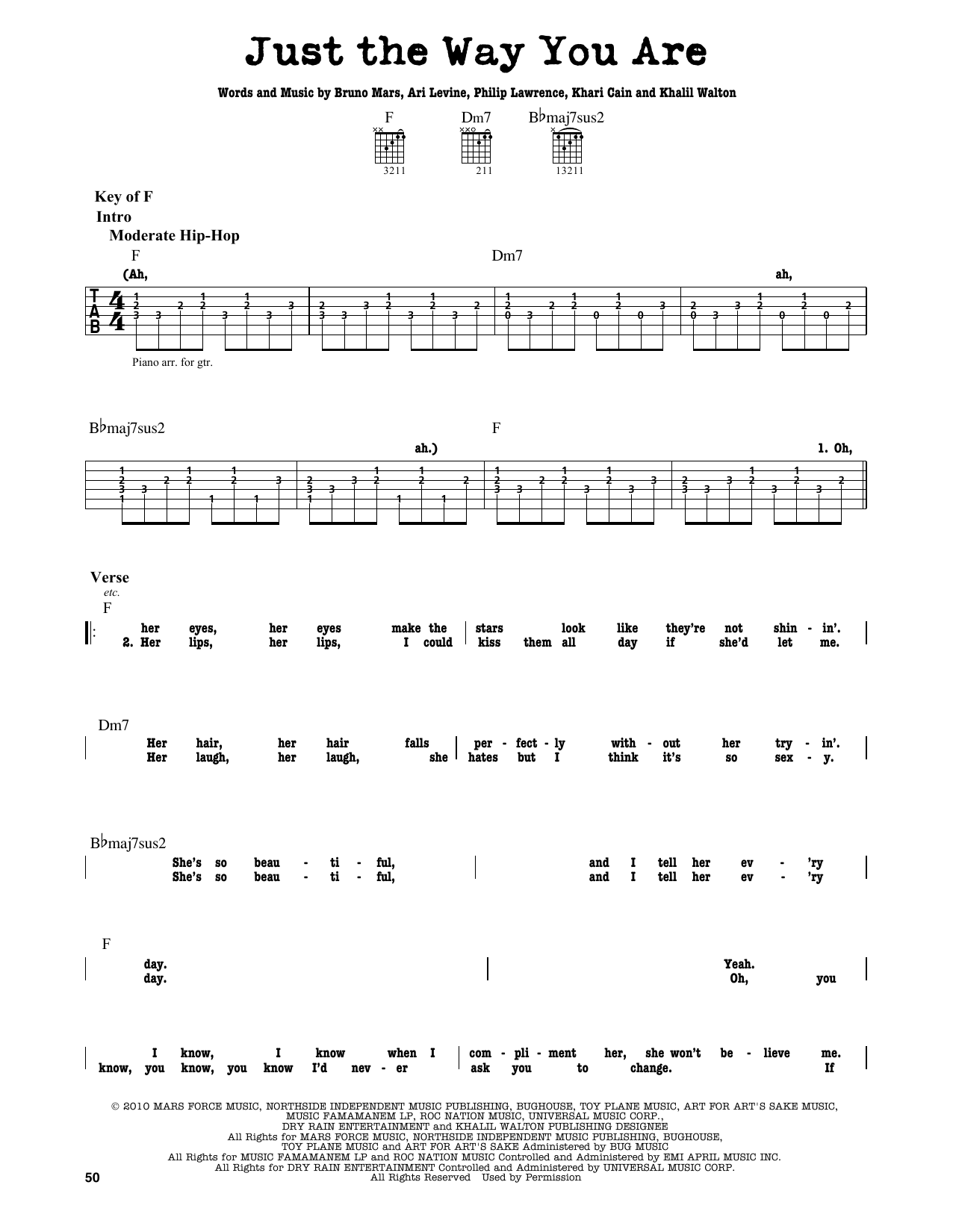 Partition autre Just The Way You Are de Bruno Mars - Tablature Guitare Lead