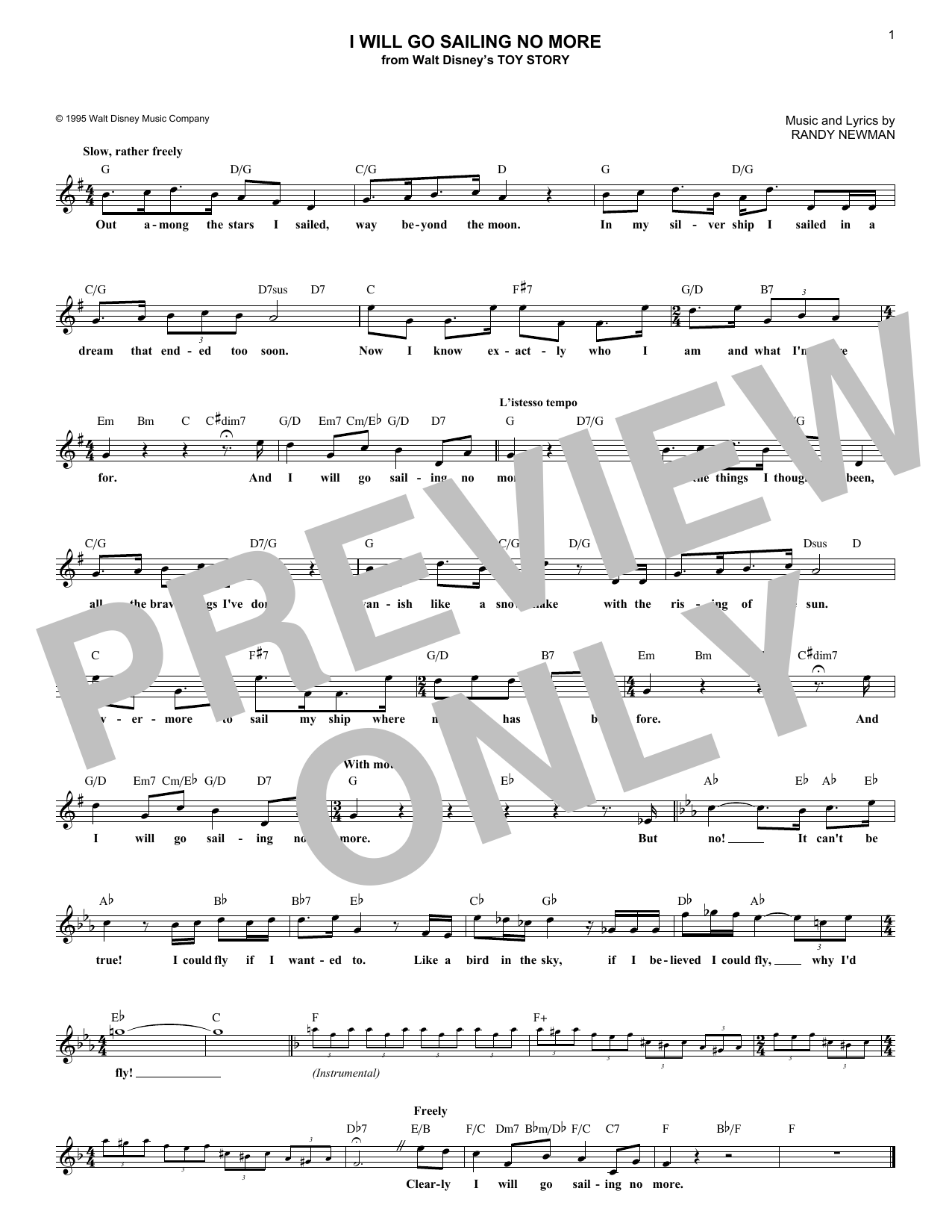 I Will Go Sailing No More (from Toy Story) (Lead Sheet / Fake Book)