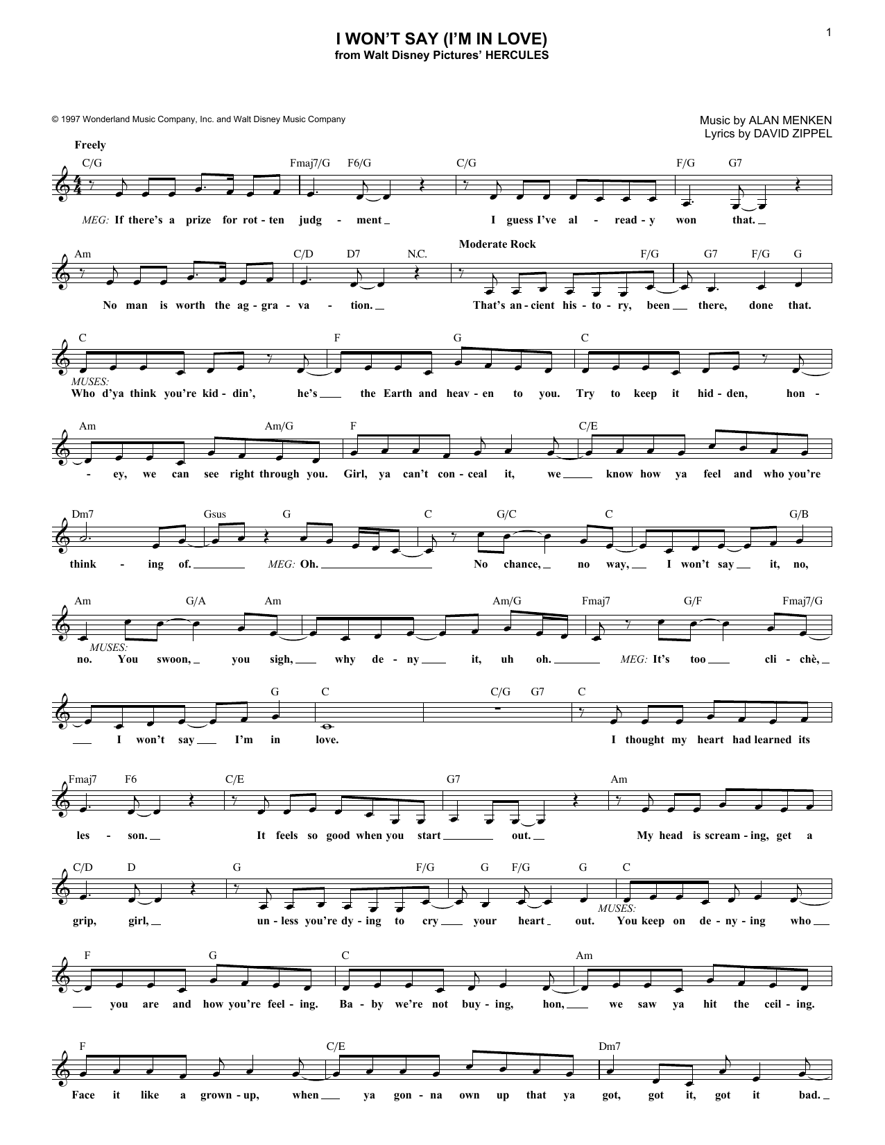 I Won't Say (I'm In Love) (Lead Sheet / Fake Book)