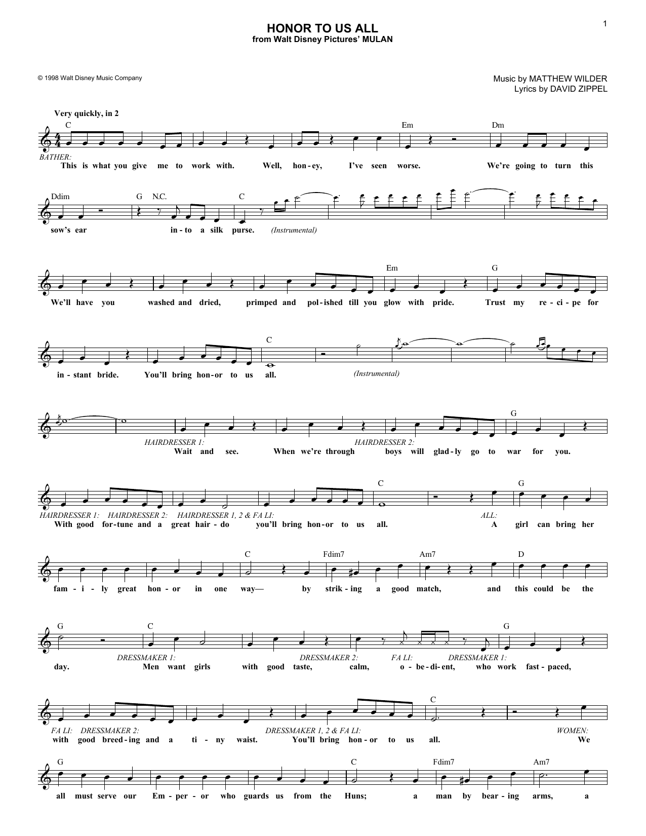 Honor To Us All (from Mulan) (Lead Sheet / Fake Book)