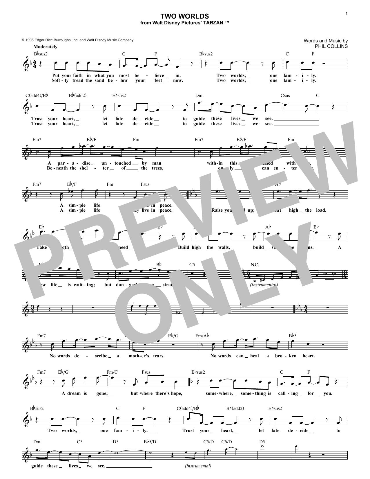 Two Worlds (Melody Line, Lyrics & Chords)
