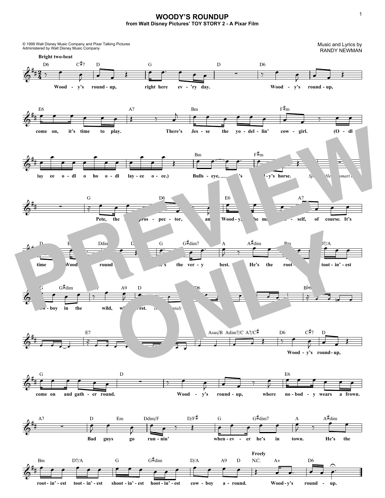 Woody's Roundup (from Toy Story 2) (Lead Sheet / Fake Book)