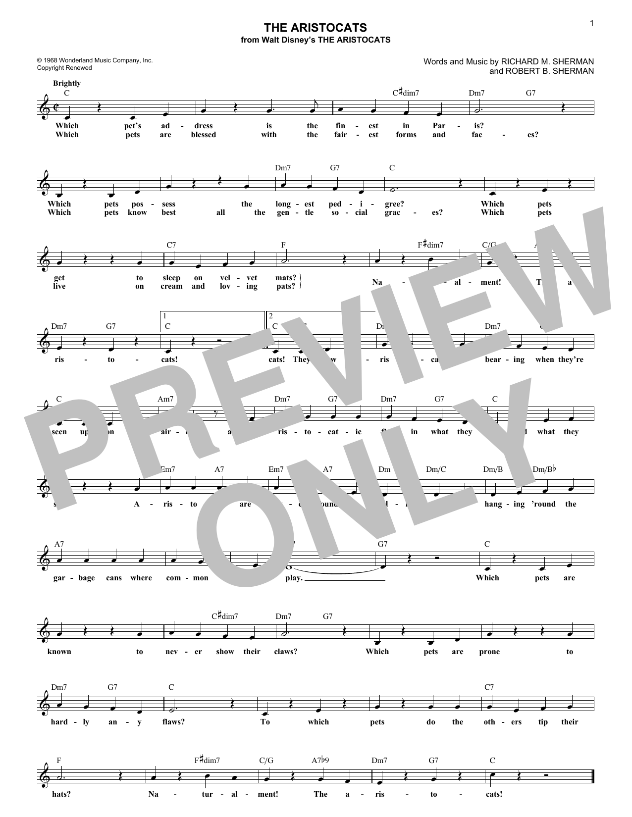 The Aristocats (Lead Sheet / Fake Book)