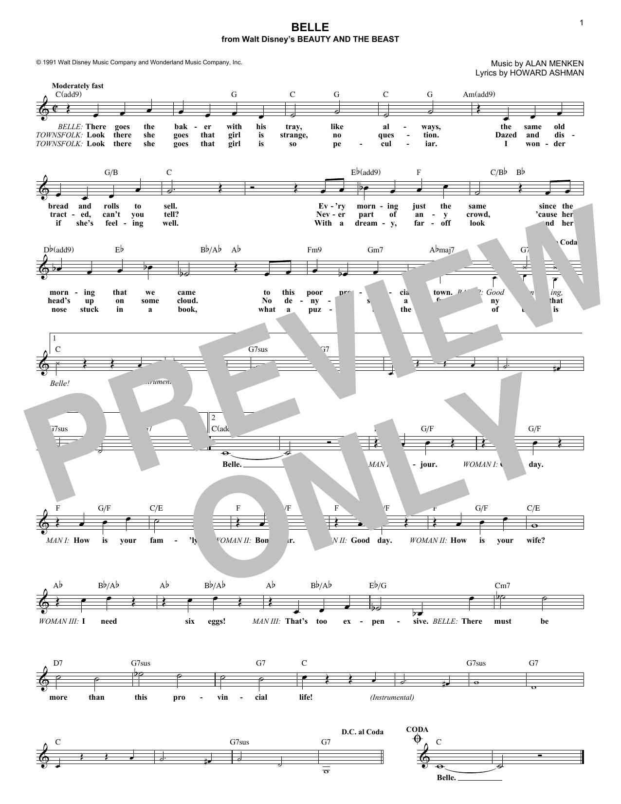 Belle (from Beauty And The Beast) (Lead Sheet / Fake Book)