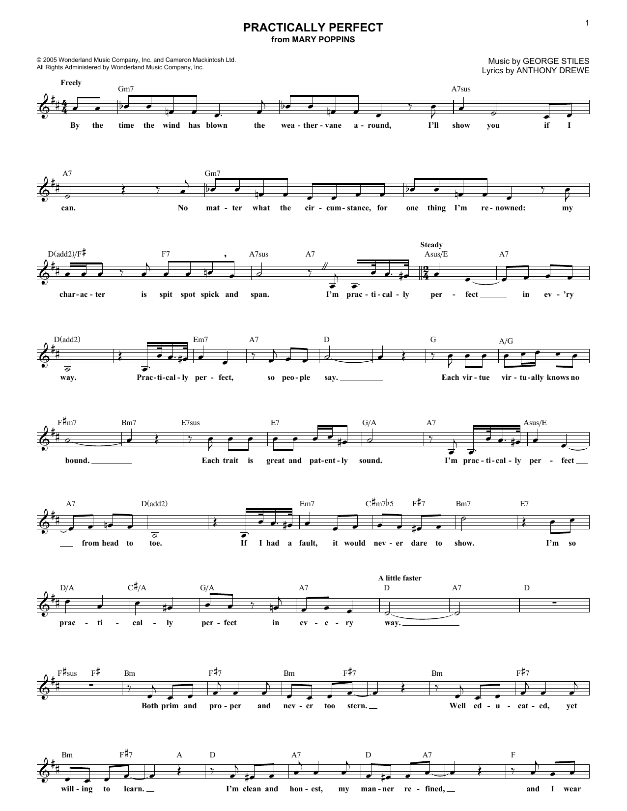 Practically Perfect (Lead Sheet / Fake Book)