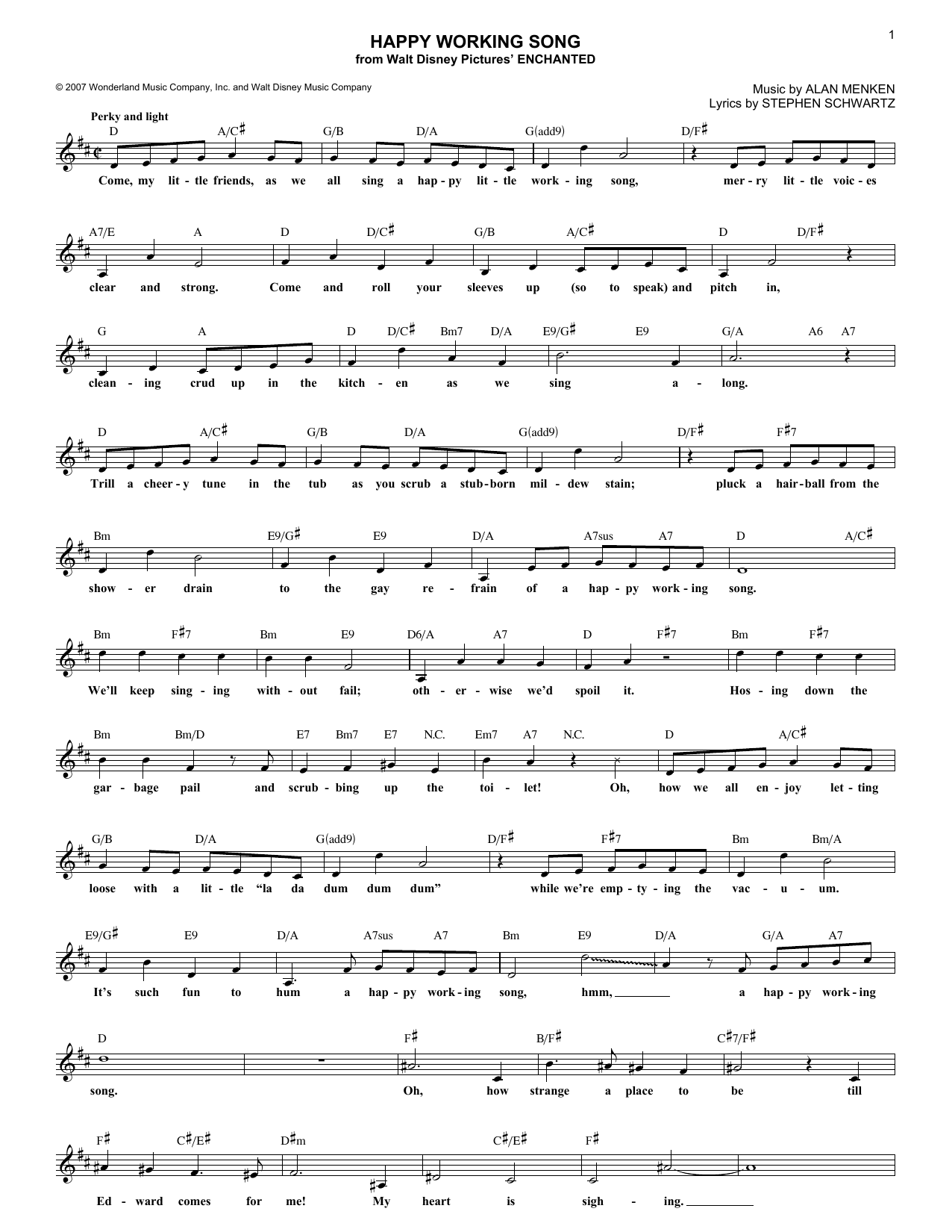 Happy Working Song (Lead Sheet / Fake Book)